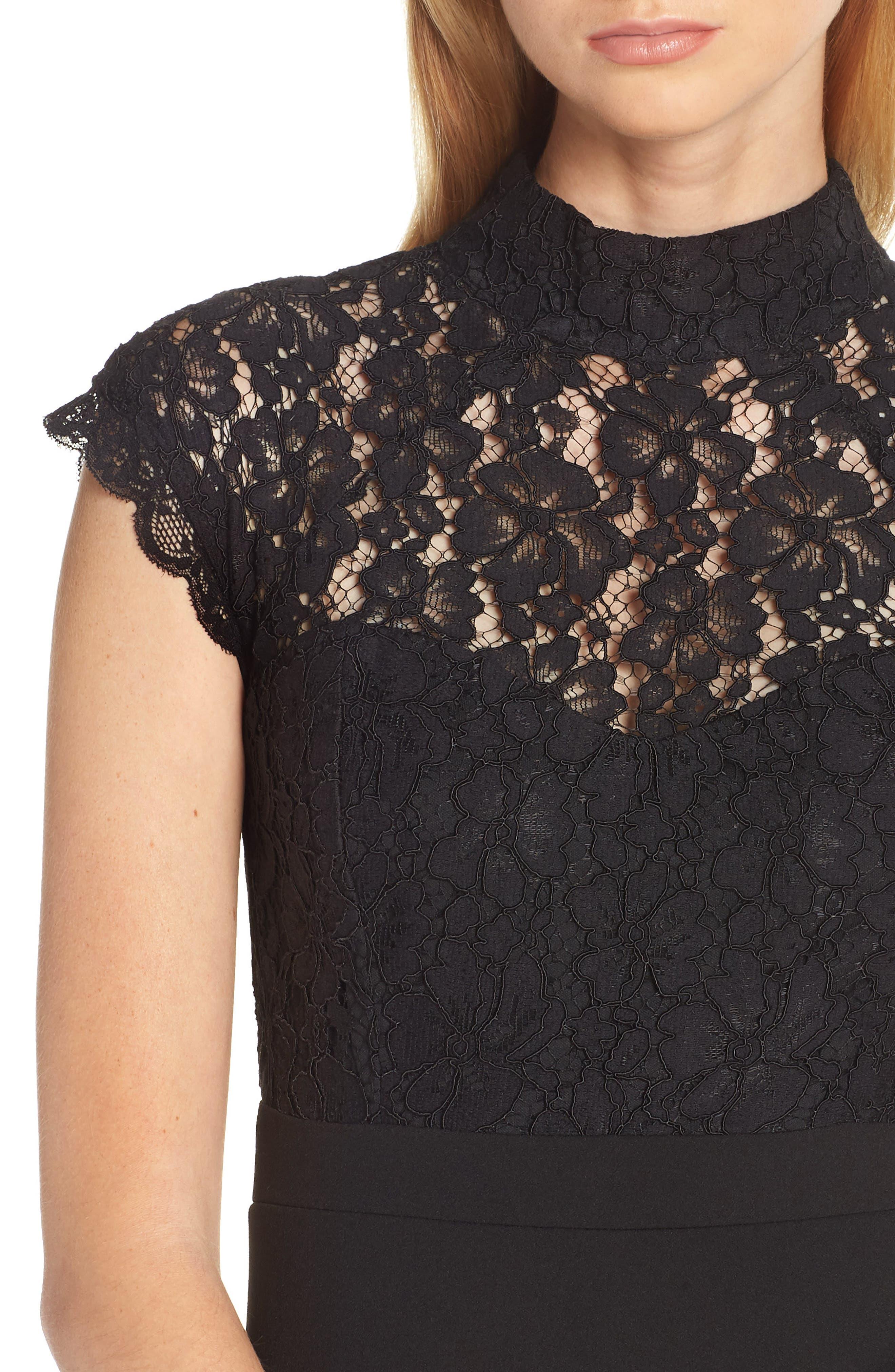 ,                             Lace Sheath Dress,                             Alternate thumbnail 4, color,                             BLACK