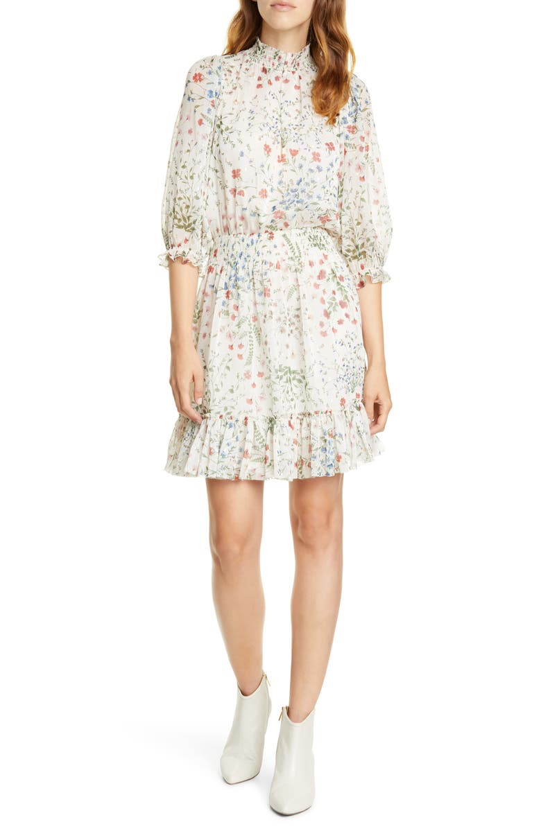 JOIE Shima Smocked Details Dress, Main, color, AGED WHITE