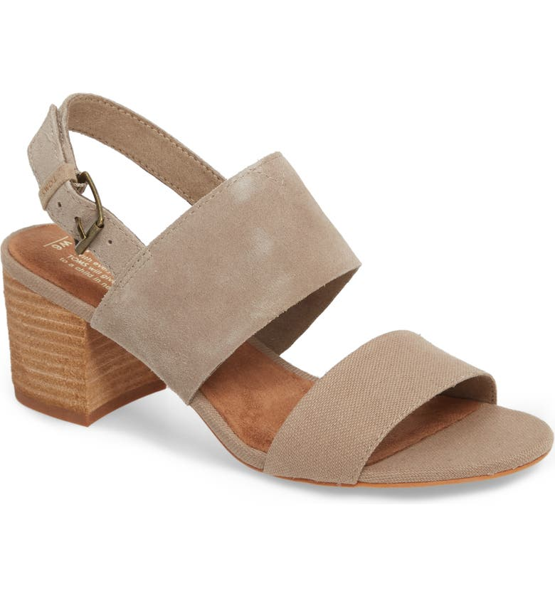 TOMS Poppy Sandal, Main, color, DESERT TAUPE SUEDE