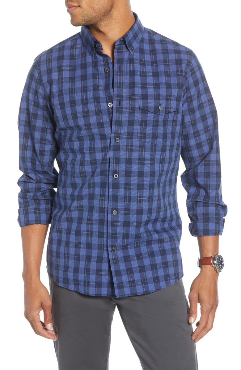 1901 Trim Fit Check Button-Down Shirt, Main, color, BLUE NAVY SPACE CHECK
