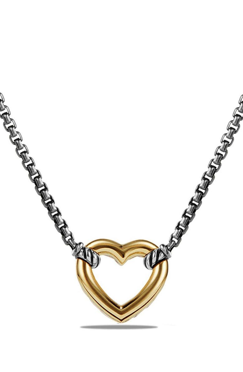 DAVID YURMAN 'Cable Collectibles' Heart Station Necklace with 18K Gold, Main, color, 040