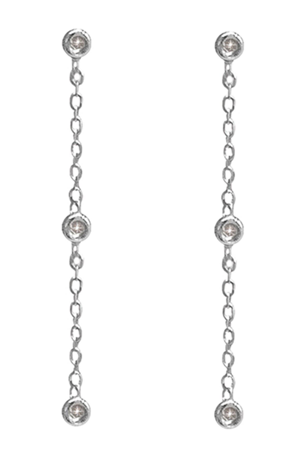 Image of ADORNIA Fine White Rhodium Plated Bezel Set Diamond Chain Drop Earrings - 0.10 ctw