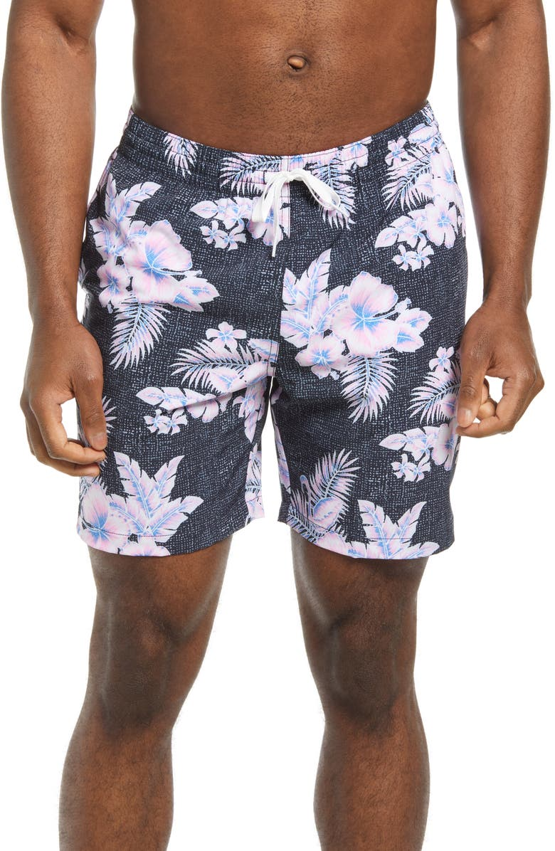 CHUBBIES The Pink About Its Floral 7-Inch Swim Trunks, Main, color, BRIGHT PINK