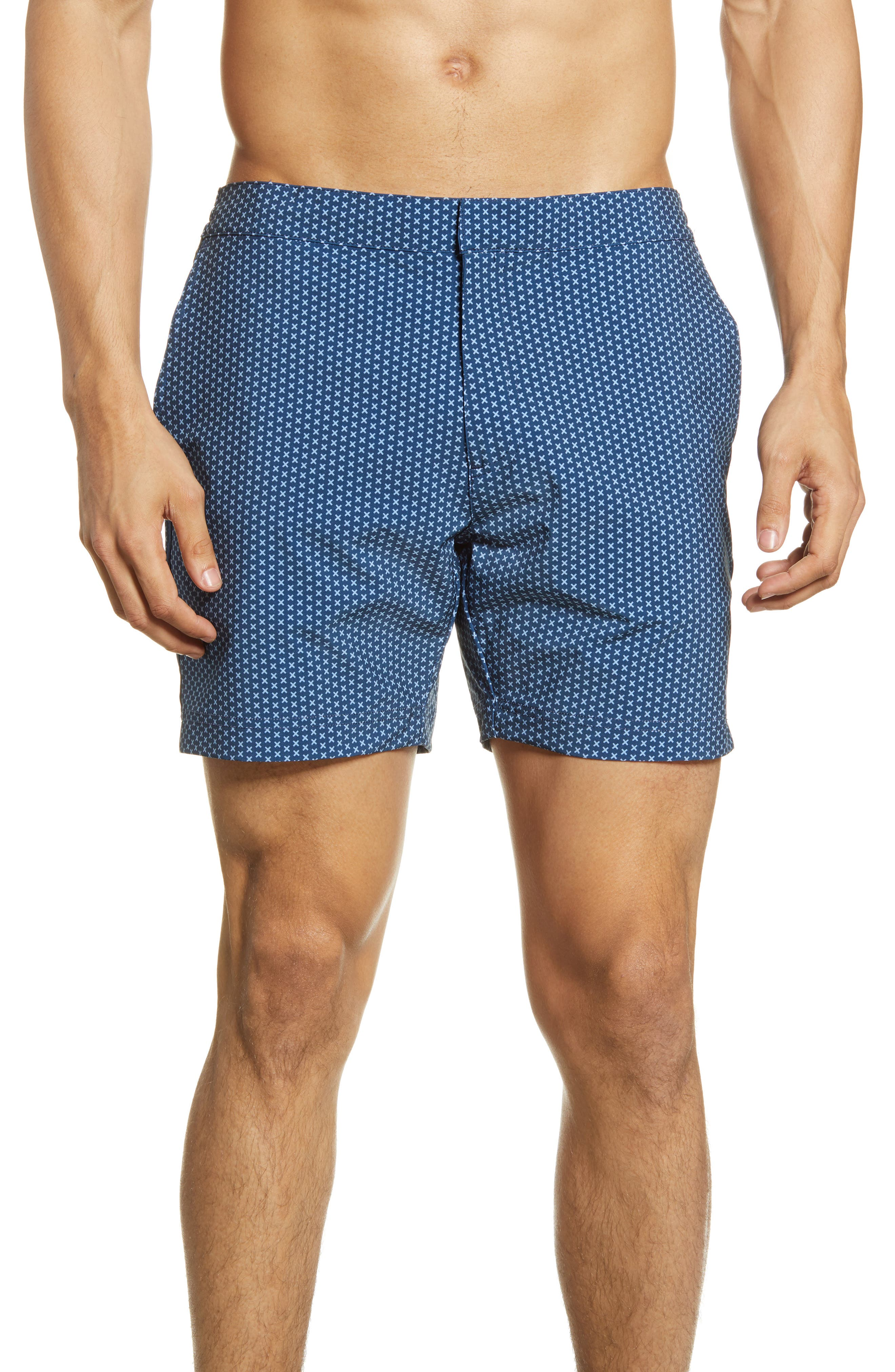 Vintage Men's Swimsuits – 1930s, 1940s, 1950s History Mens Fair Harbor The Sextant Swim Trunks Size 34 - Blue $88.00 AT vintagedancer.com