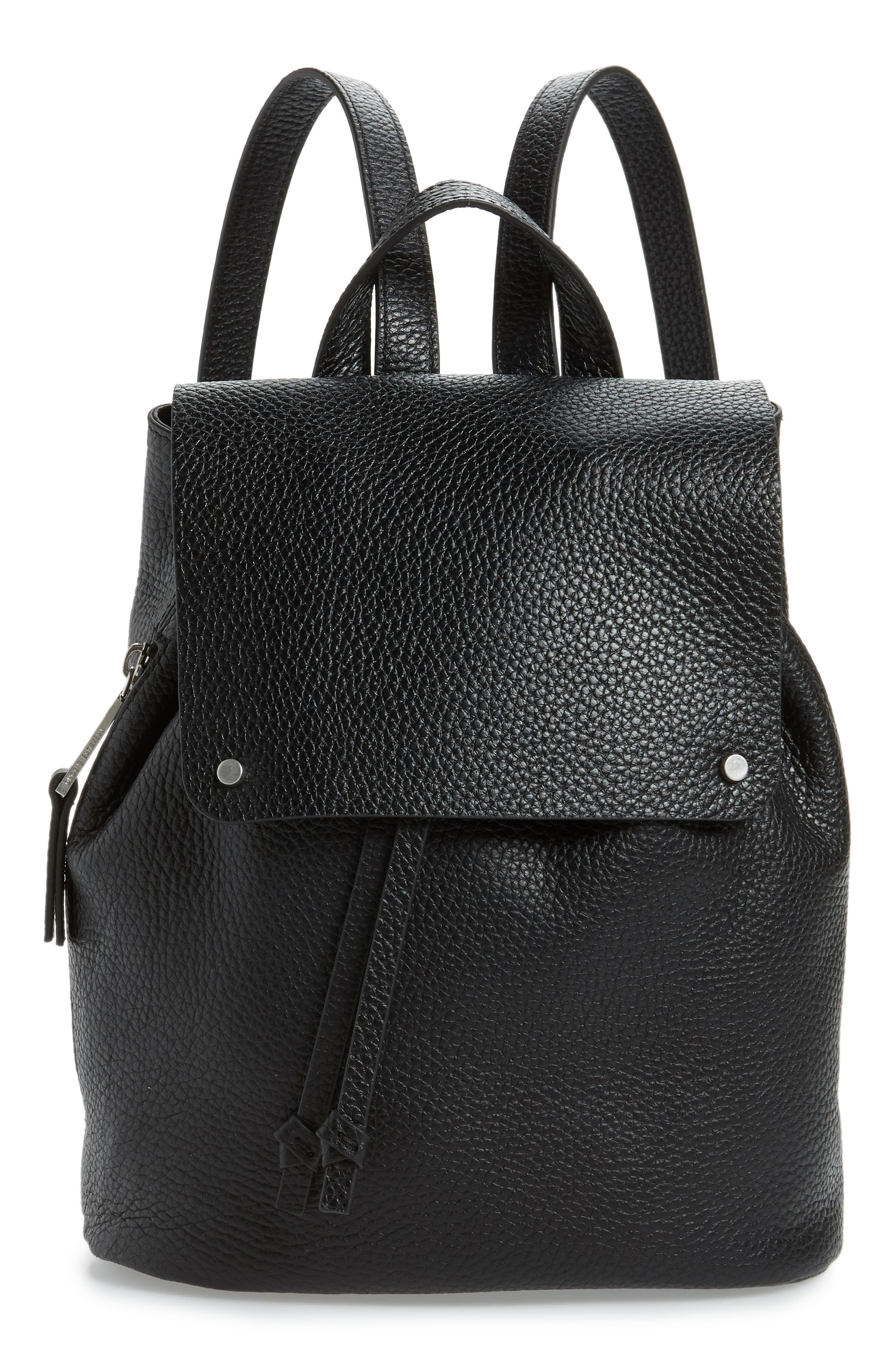 Luca Grainy Leather Backpack, Main, color, BLACK