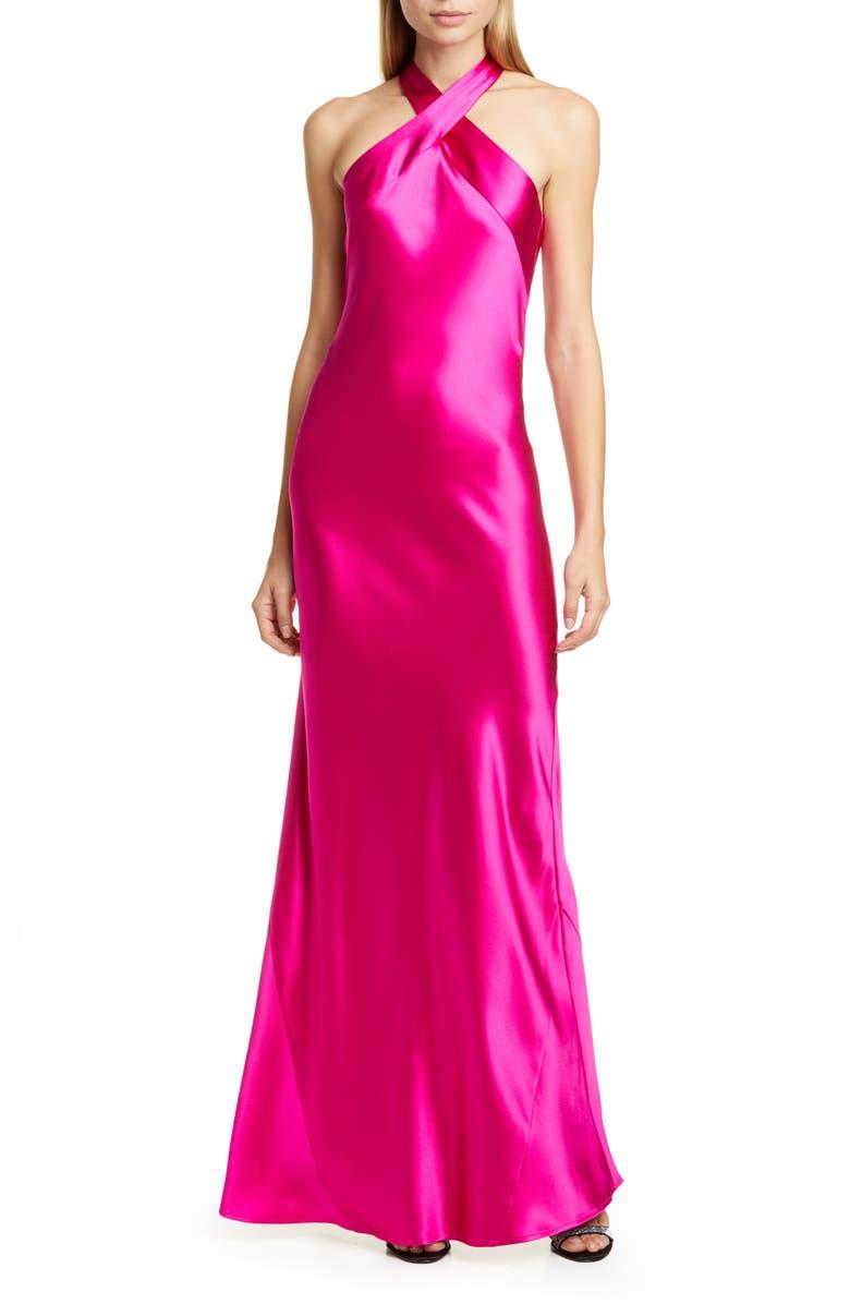 GALVAN The Eve Halter Neck Silk Gown, Main, color, MAGENTA