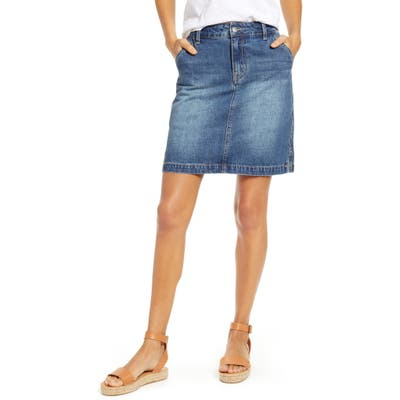 Petite Gibson X Hi Sugarplum! Positano Denim Skirt, Blue