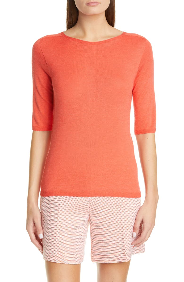 ST. JOHN COLLECTION Elbow Sleeve Jersey Top, Main, color, 820