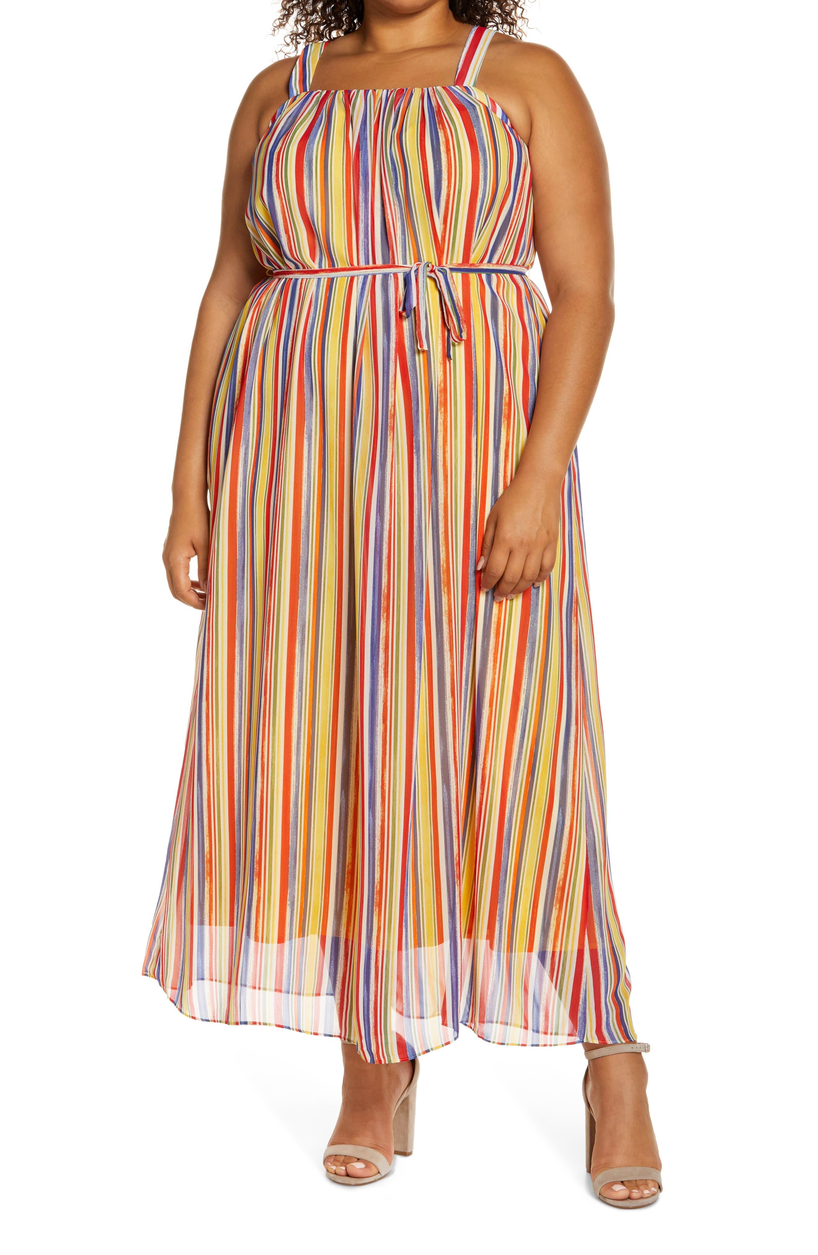 Rainbow Stripe Crepe Maxi Dress