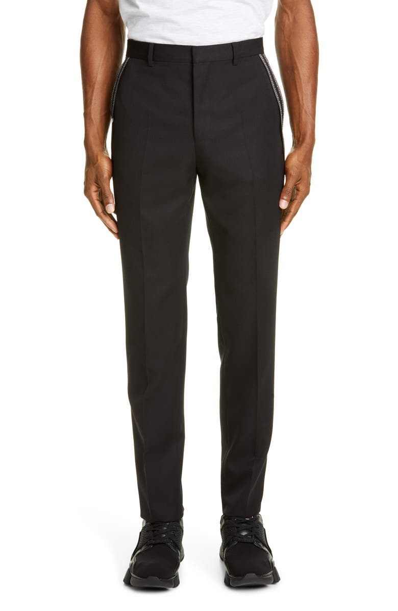 GIVENCHY Bands Gabardine Pants, Main, color, BLACK