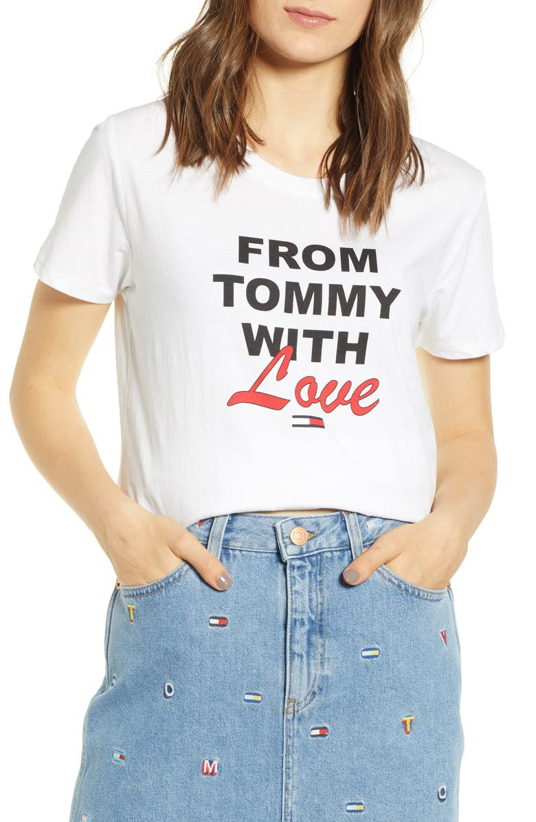TOMMY JEANS Tommy with Love Tee, Main, color, 100