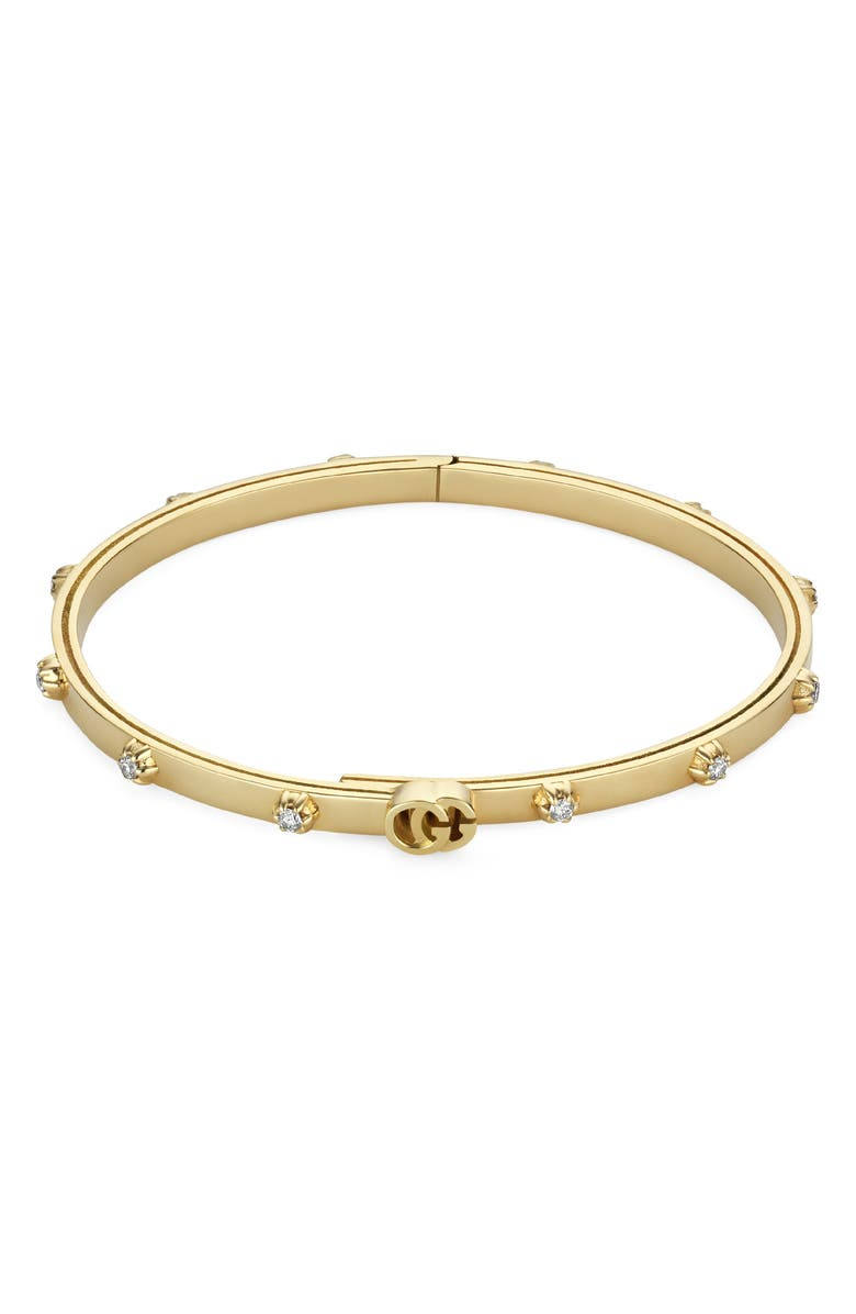 GUCCI Running Extra Small 18K Gold Diamond Bracelet, Main, color, YELLOW GOLD