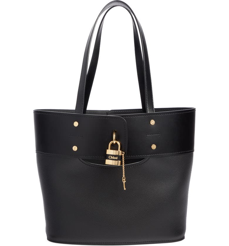 CHLOÉ Aby Small Leather Tote, Main, color, BLACK