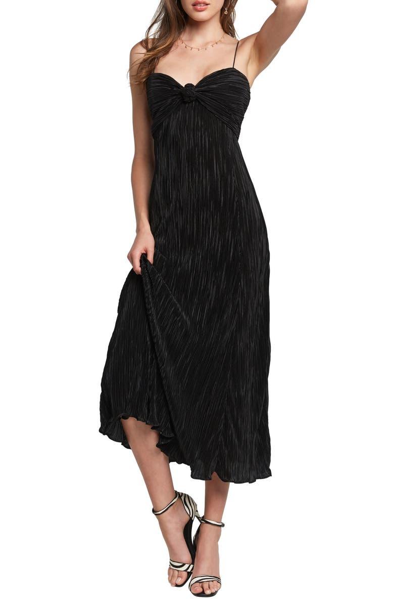 BARDOT Maddie Plissé Midi Cocktail Dress, Main, color, BLACK