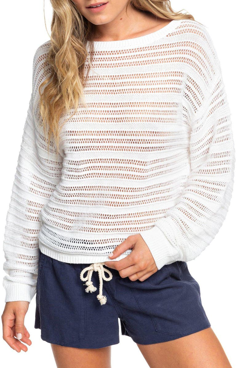 ROXY Sweet Amore Open Stripe Sweater, Main, color, SNOW WHITE