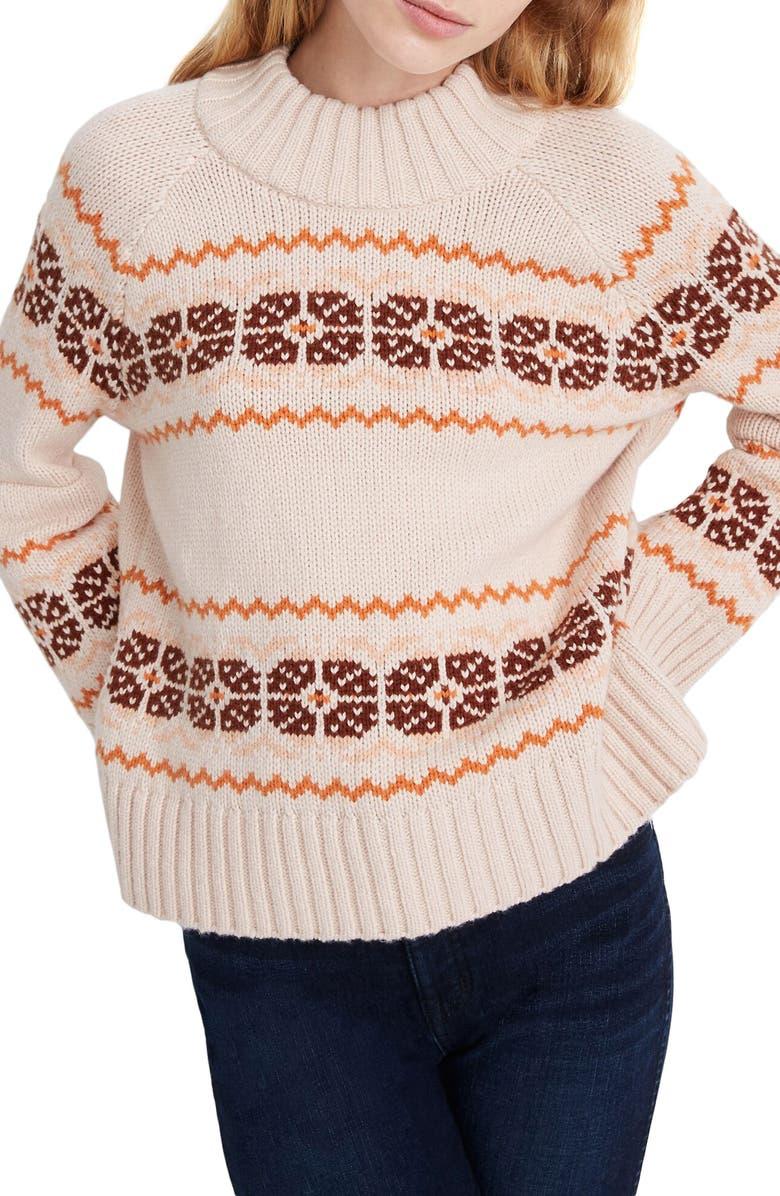 MADEWELL Overbrook Fair Isle Mock Neck Sweater, Main, color, AVALON PINK