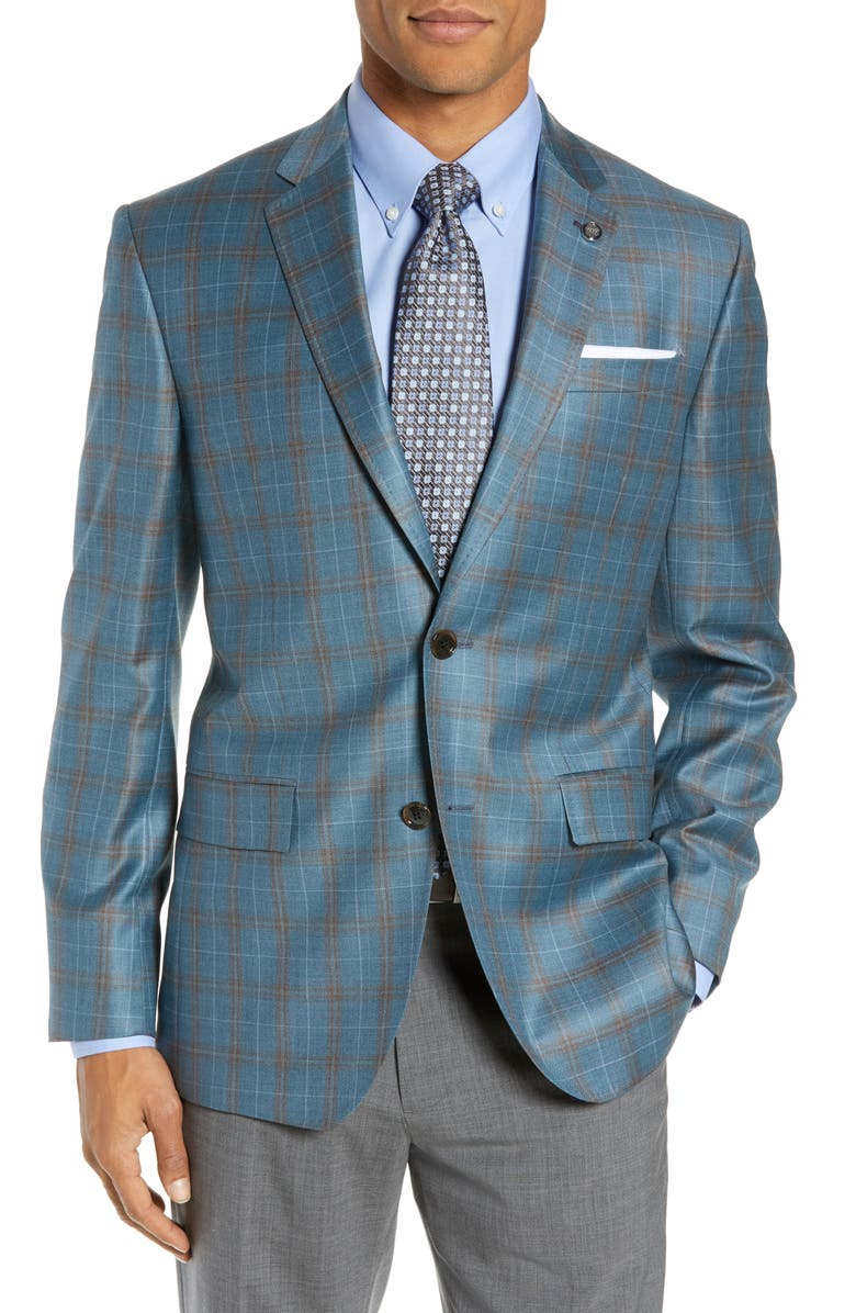 TED BAKER LONDON Jay Trim Fit Plaid Wool Sport Coat, Main, color, 300