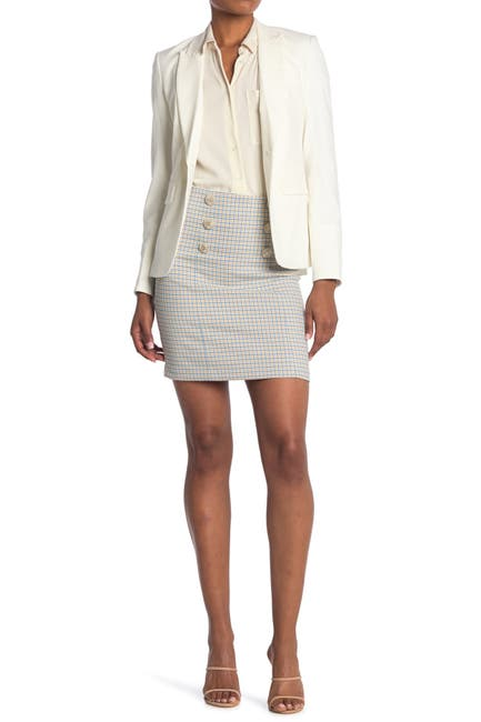 Image of VERONICA BEARD Beekman Check Button Mini Skirt