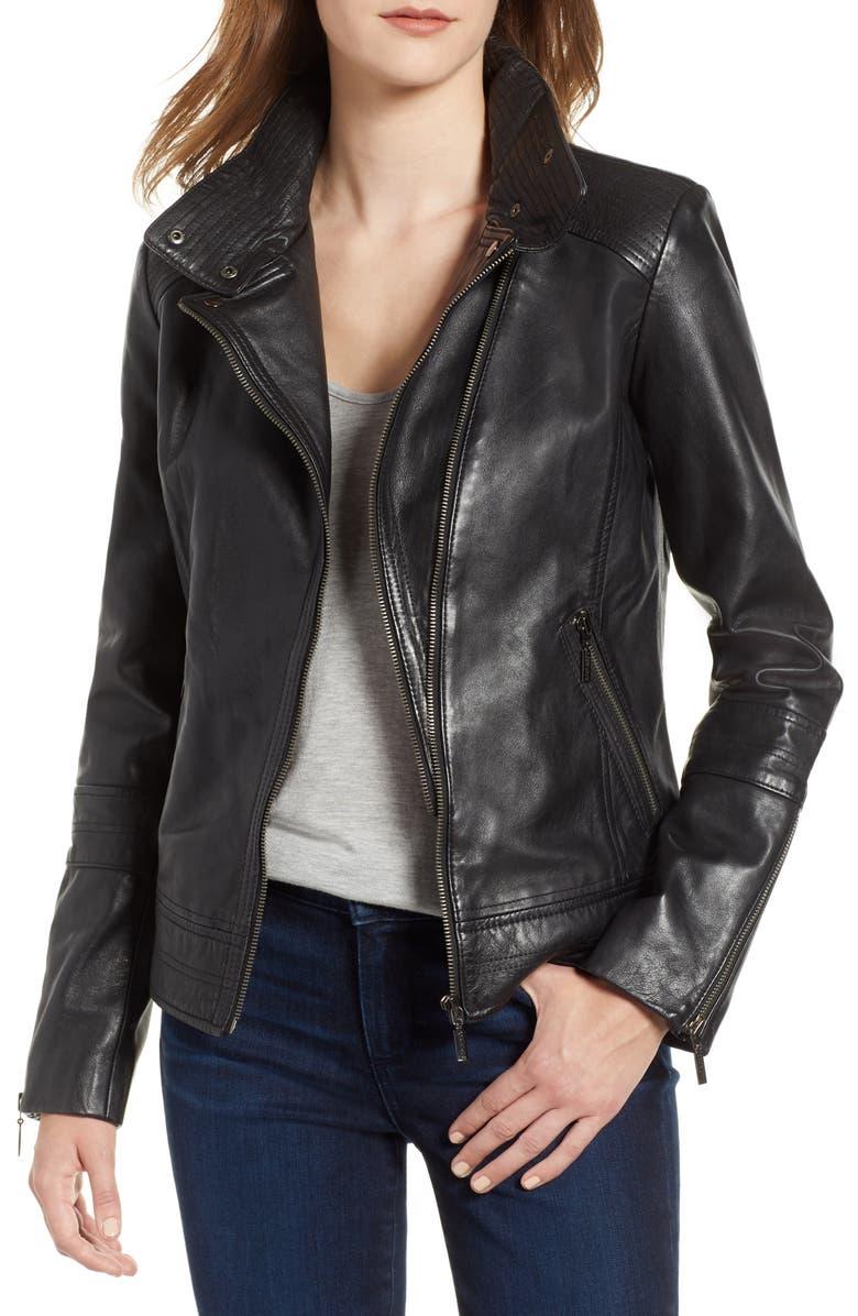 BERNARDO Leather Moto Jacket, Main, color, BLACK