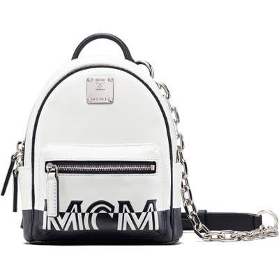 Mcm Mini Contrast Logo Leather Crossbody Bag - White