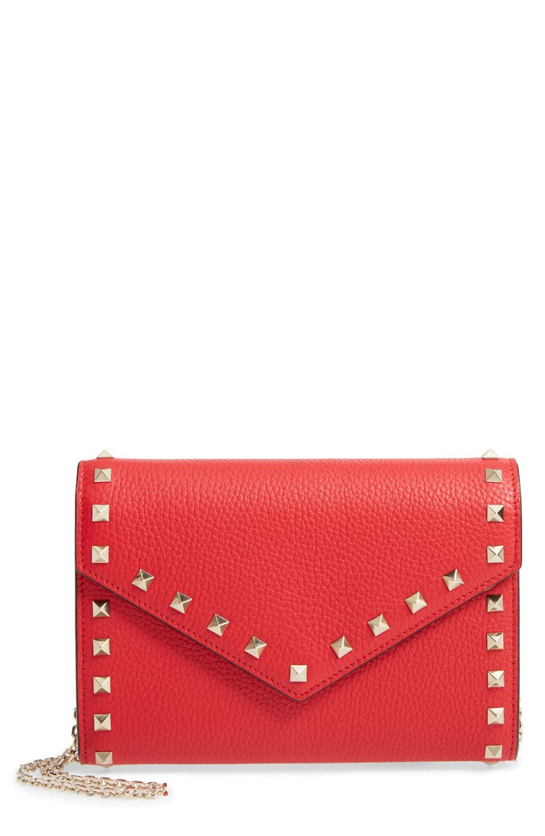VALENTINO GARAVANI Rocktstud V-Flap Calfskin Leather Wallet on a Chain, Main, color, ROUGE PUR
