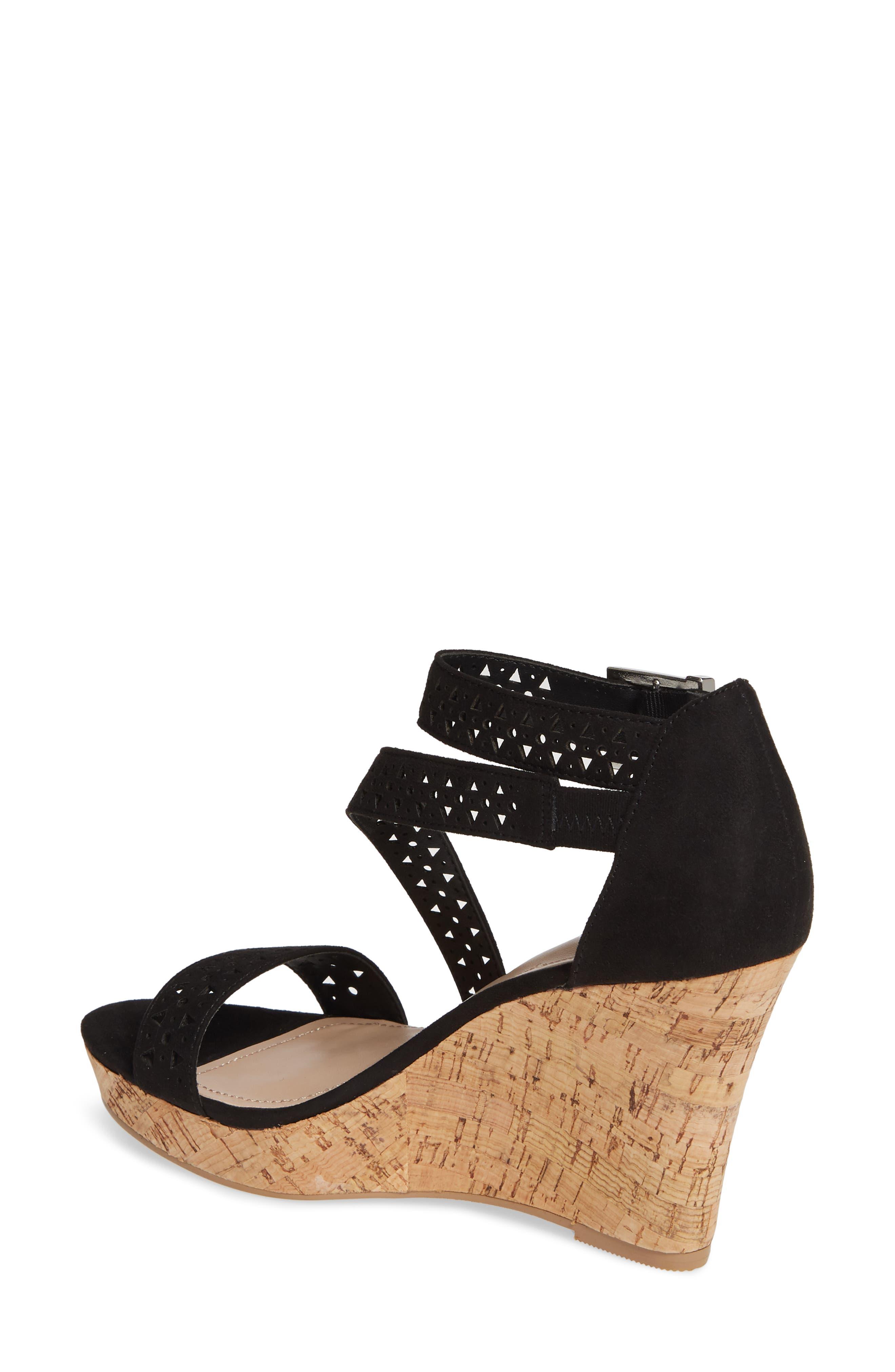 ,                             Landon Perforated Wedge Sandal,                             Alternate thumbnail 2, color,                             BLACK FABRIC
