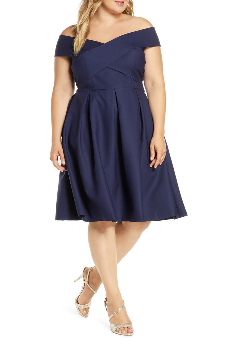 CHI CHI LONDON Curve Bay Crossover Portrait Collar Cocktail Dress, Main, color, NAVY