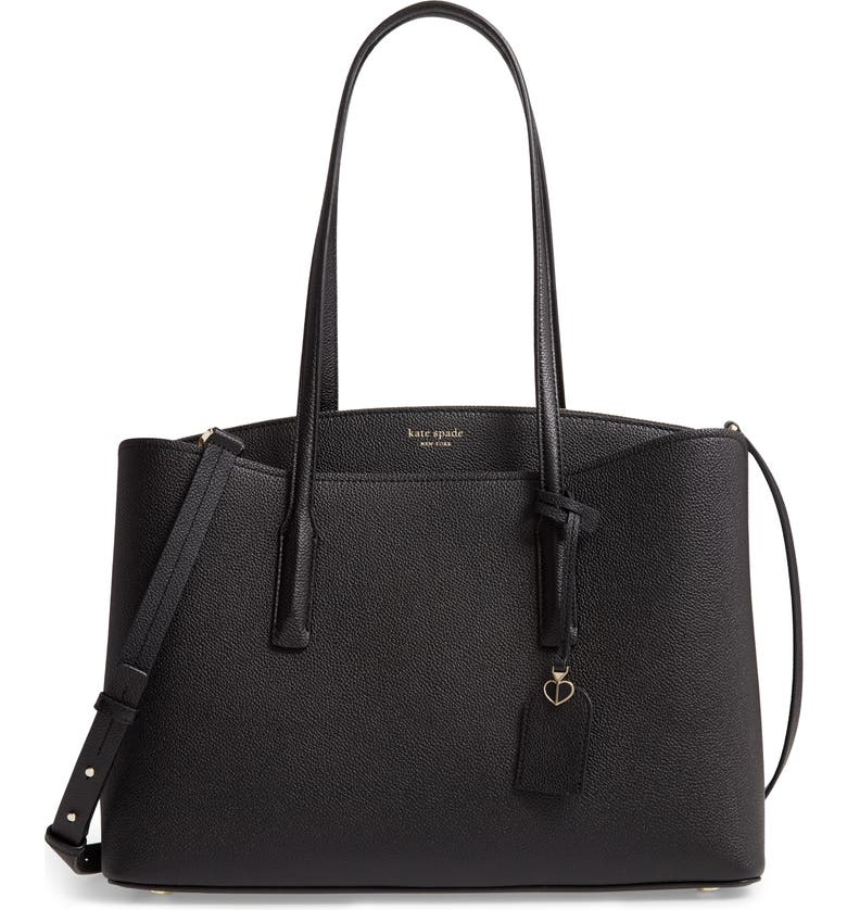 KATE SPADE NEW YORK margaux large leather work tote, Main, color, 001