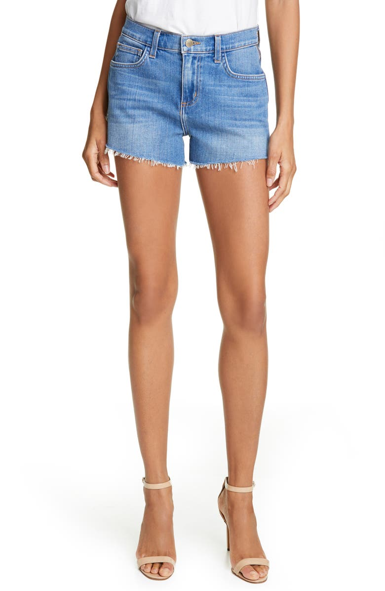L'AGENCE High Waist Side Zip Denim Shorts, Main, color, 420