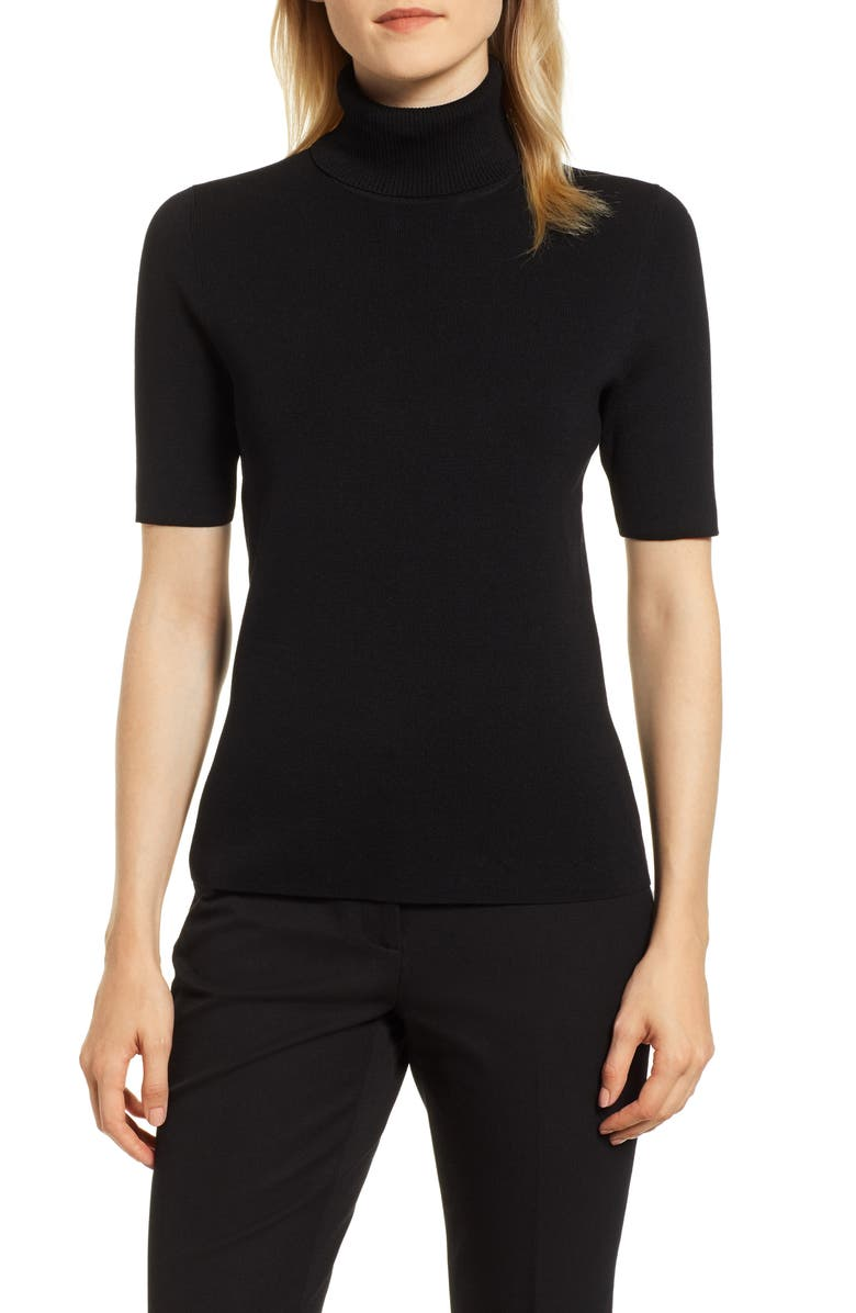 ANNE KLEIN Short Sleeve Turtleneck Sweater, Main, color, ANNE BLACK