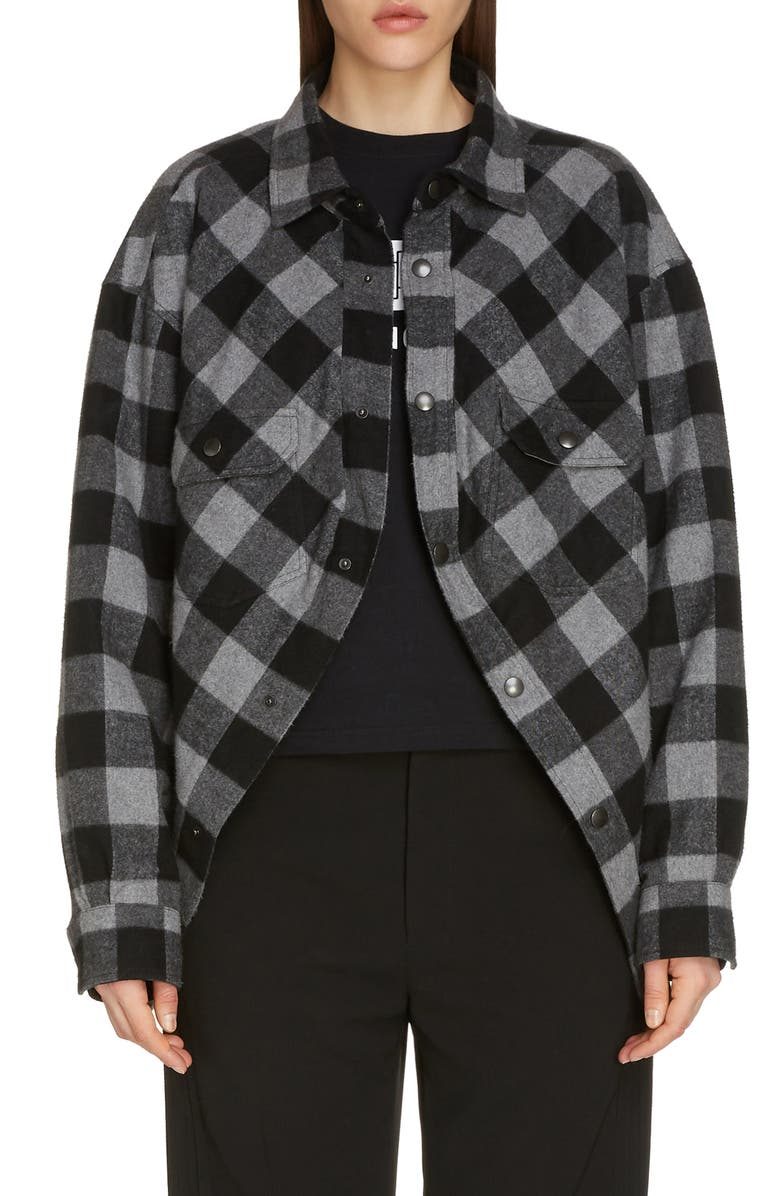 BALENCIAGA Check Flannel Swing Shirt, Main, color, 020