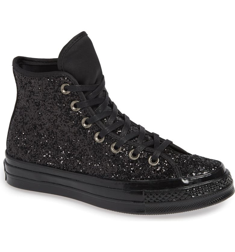 CONVERSE Chuck Taylor<sup>®</sup> All Star<sup>®</sup> Glitter High Top Sneaker, Main, color, 001