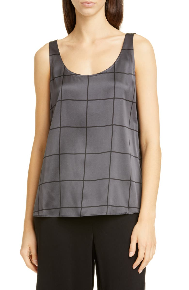 EILEEN FISHER Windowpane Pattern Stretch Silk Tank, Main, color, CHARCOAL