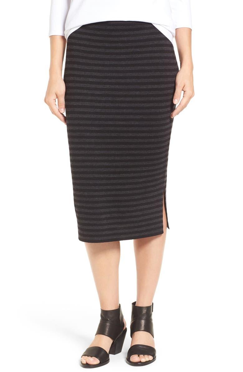 EILEEN FISHER Merino Wool Blend Double Knit Stripe Pencil Skirt, Main, color, 093
