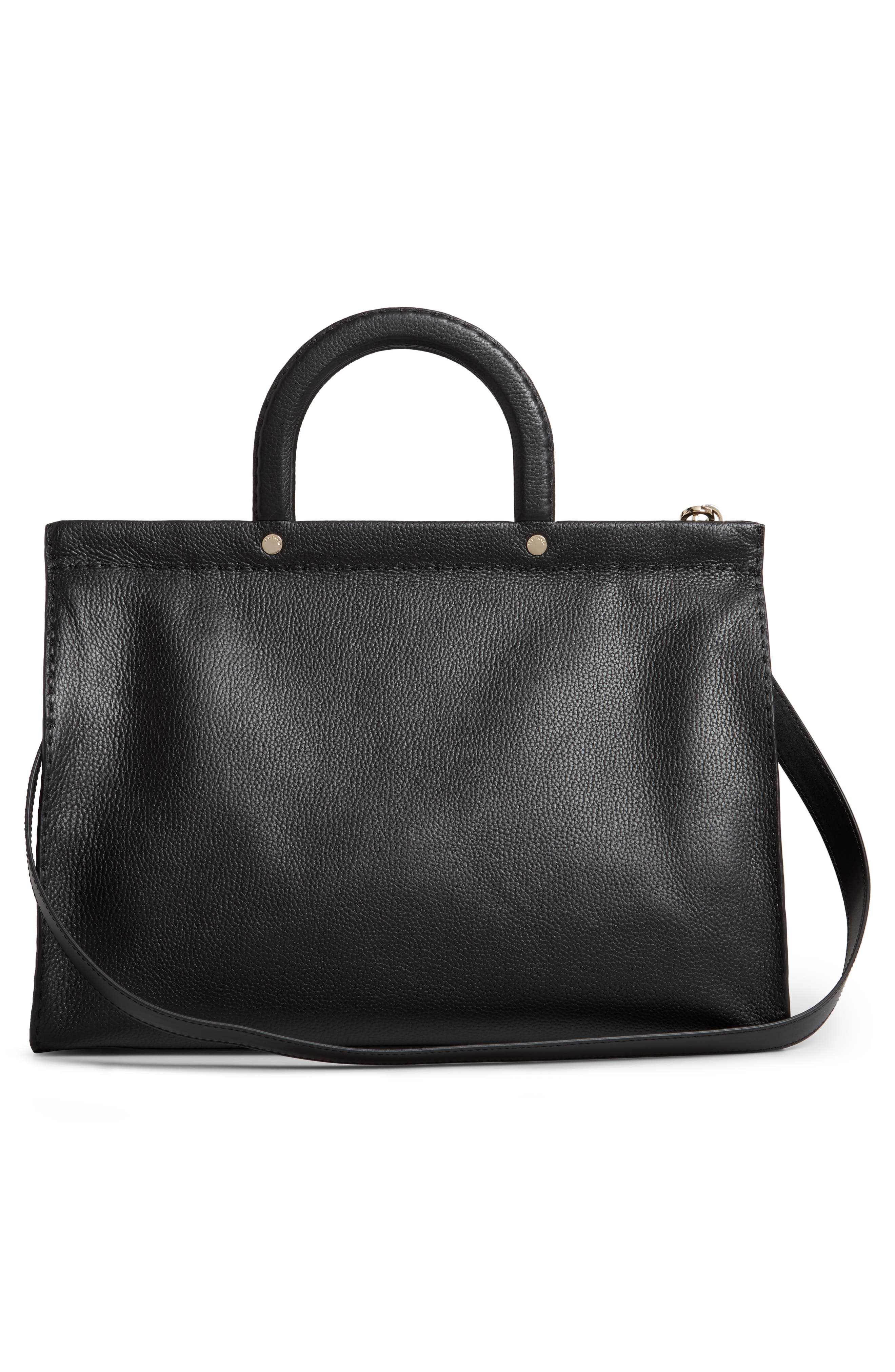 ,                             Miriian Stab Stitch Large Leather Tote,                             Alternate thumbnail 4, color,                             BLACK