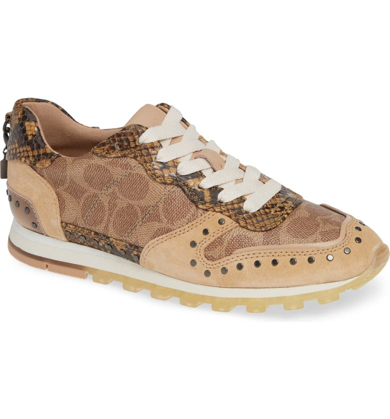 COACH C118 Studded Sneaker, Main, color, TAN/ NATURAL/ BEECHWOOD