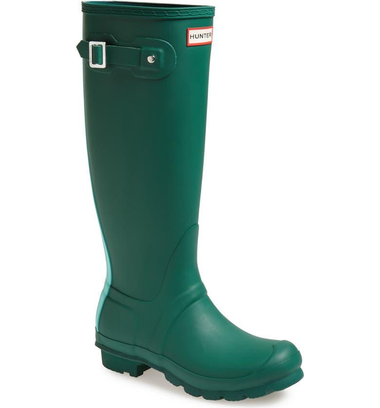 HUNTER 'Original Stripe' Waterproof Rubber Boot, Main, color, DARK MALACHITE/ GREEN