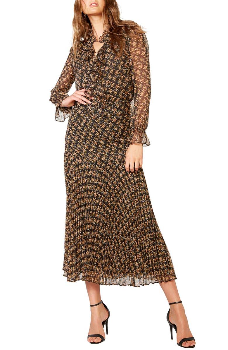 BARDOT Dallas Floral Long Sleeve V Neck Dress, Main, color, BLACK DITSY