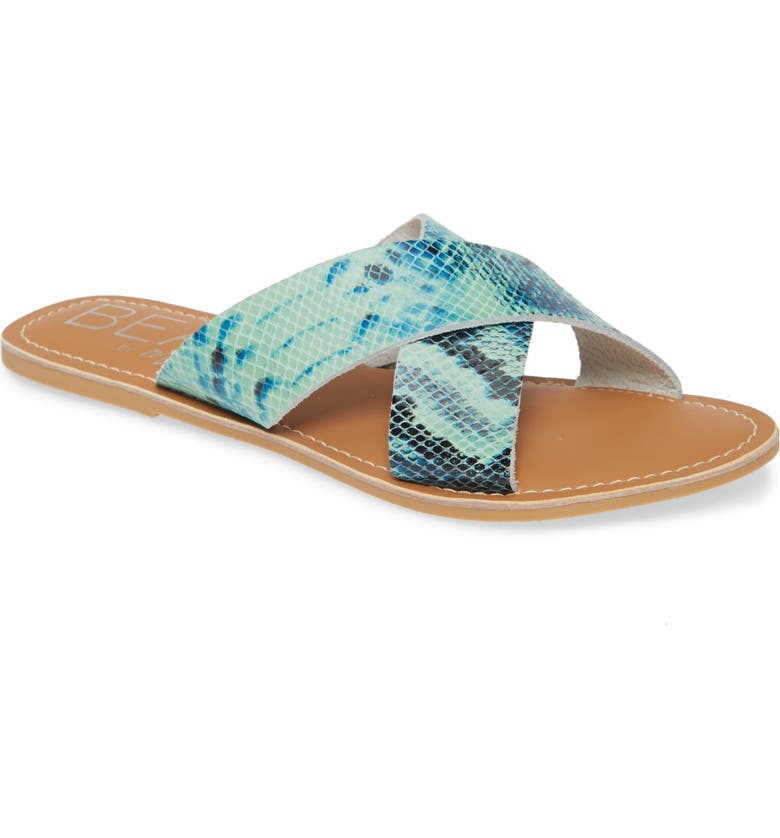 COCONUTS BY MATISSE Pebble Slide Sandal, Main, color, BLUE SNAKE PRINT LEATHER