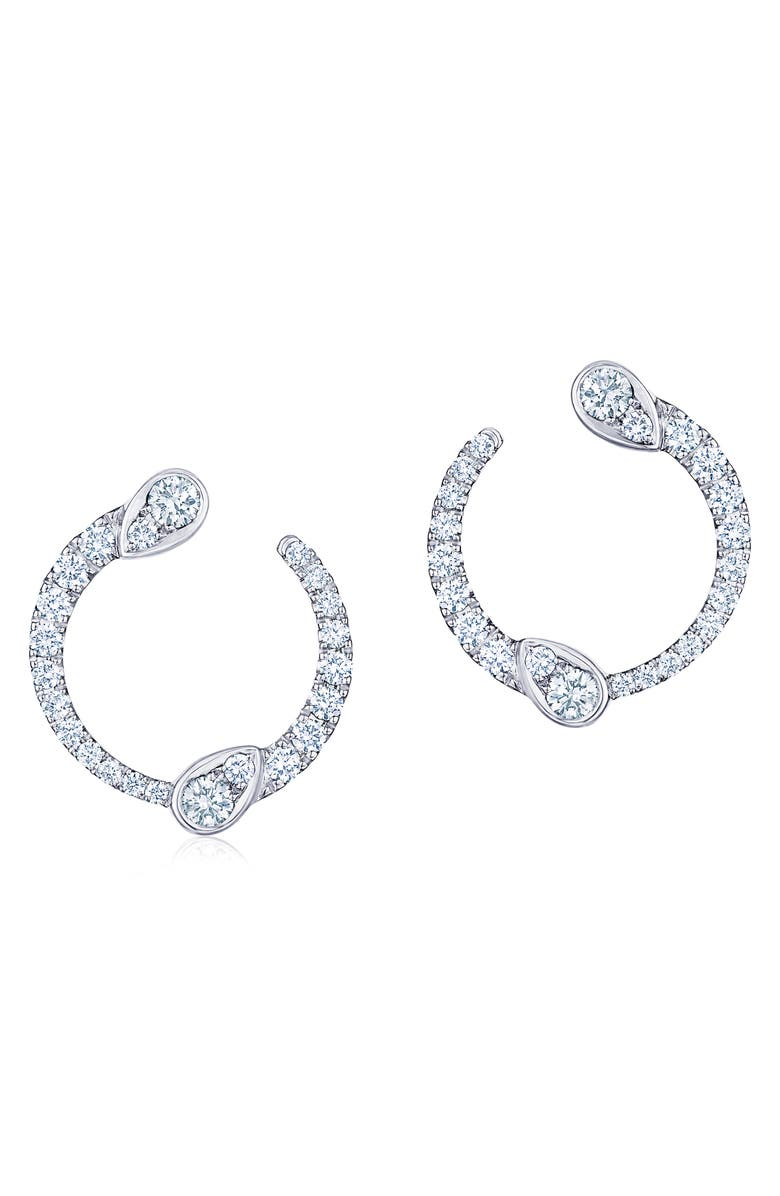 KWIAT Eclipse Diamond Yin Yang Earrings, Main, color, WHITE GOLD