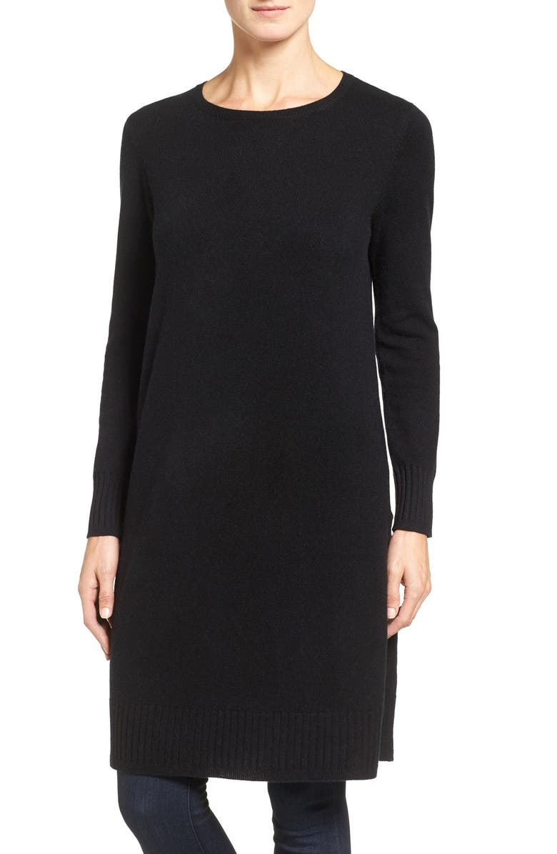 NORDSTROM COLLECTION Side Vent Cashmere Tunic, Main, color, 001