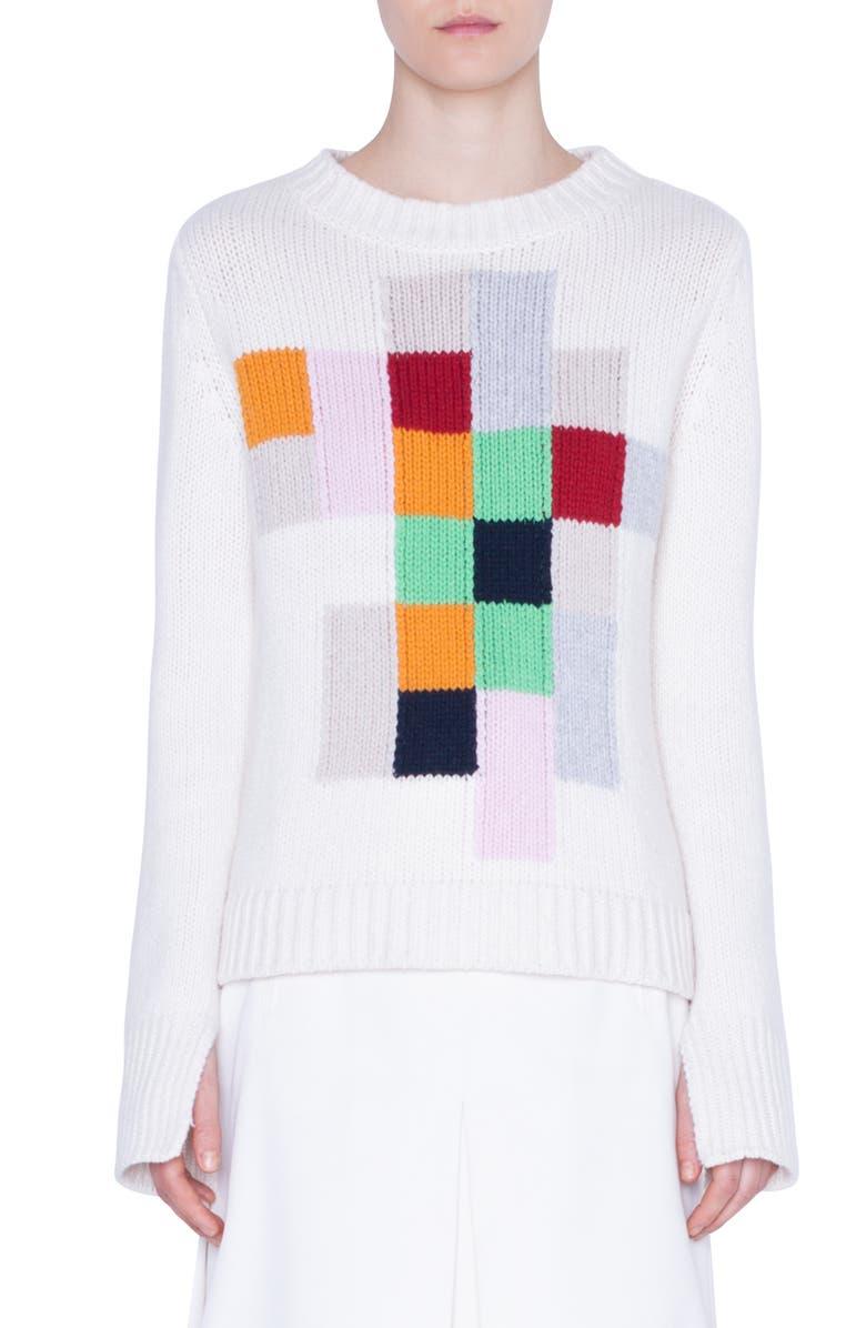 AKRIS PUNTO Pixel Intarsia Sweater, Main, color, CREAM