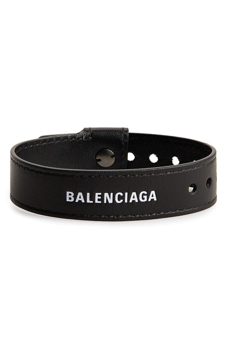 BALENCIAGA Party Leather Bracelet, Main, color, 001