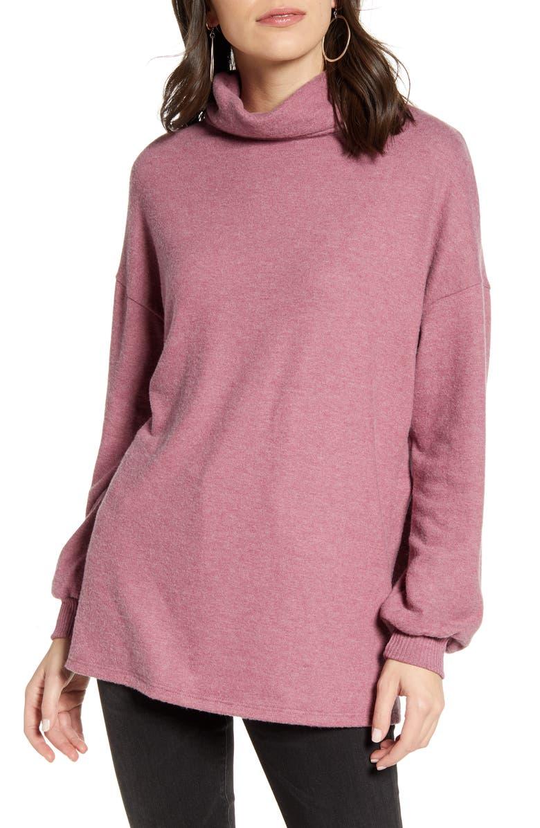 TREASURE & BOND Brushed Tunic Top, Main, color, BURGUNDY CRUSH