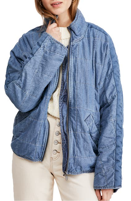 Image of Free People Dolman Quilted Denim Jacket