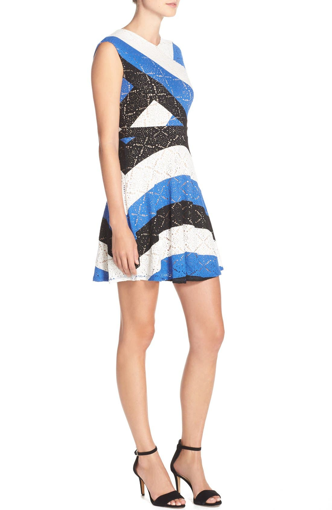,                             'Jasmyne' Stripe Lace Dress,                             Alternate thumbnail 5, color,                             475