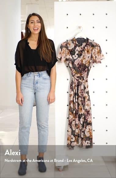 Floral Mock Neck Chiffon Midi Dress, sales video thumbnail