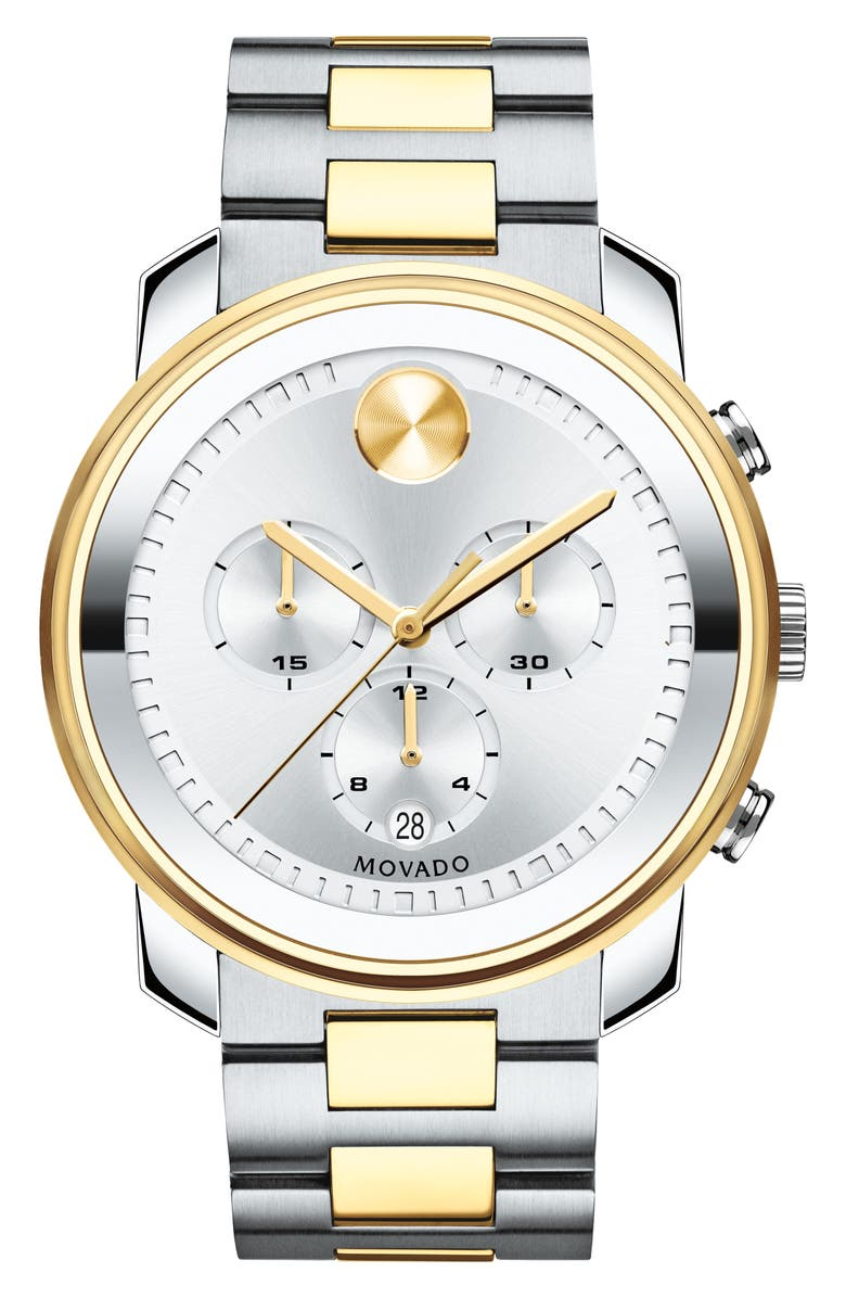 MOVADO Bold Two Tone Chronograph Watch, 44mm, Main, color, 040