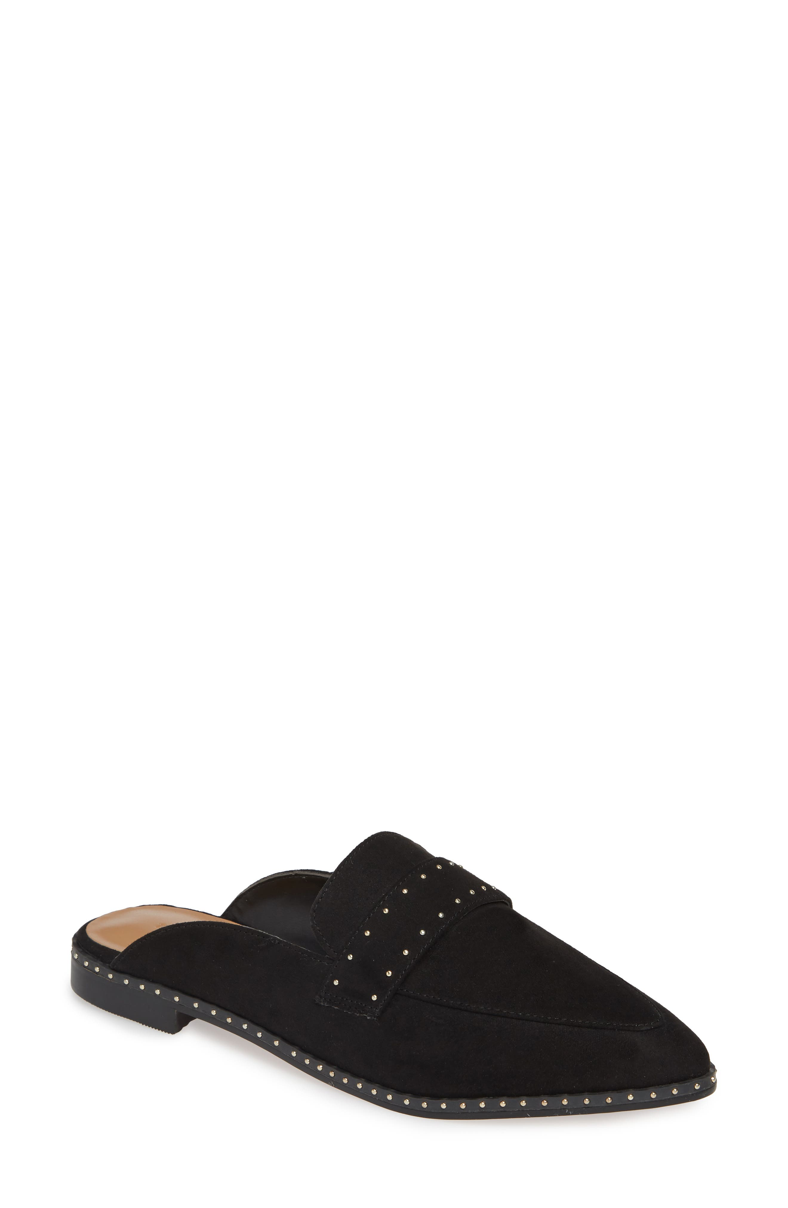 Lara Studded Loafer Mule, Main, color, BLACK