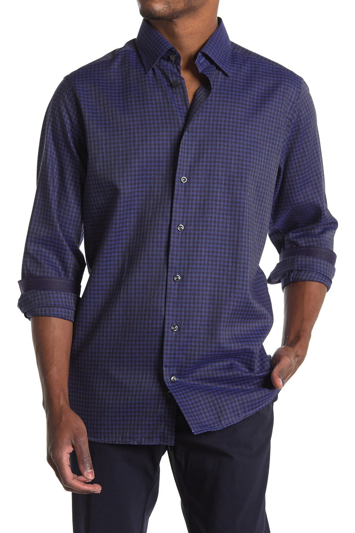 Image of Eton Check Print Contemporary Fit Shirt